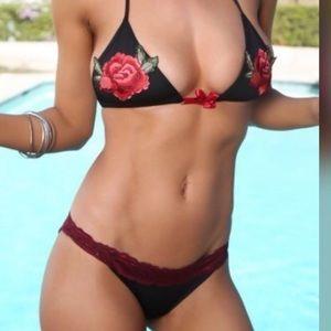 Other - Sexy Black Lace Rose Scrunch Back Bikini! Large